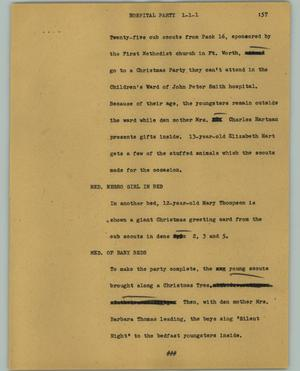 Primary view of object titled '[News Script: Hospital party]'.