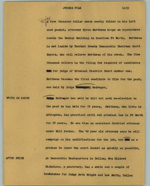 Primary view of object titled '[News Script: Judges file]'.