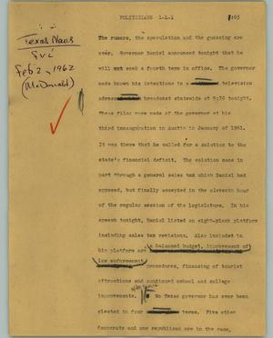 Primary view of object titled '[News Script: Politicians]'.