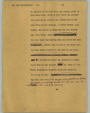 Primary view of object titled '[News Script: Man shot accidentally]'.