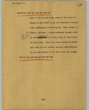 Primary view of object titled '[News Script: Cow owner]'.