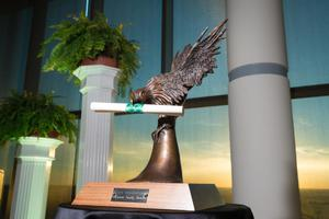 Primary view of object titled '[Scrappy The Eagle Faculty Award]'.