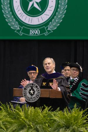 Primary view of object titled '[Texas Governor Greg Abbott speaking at commencement]'.
