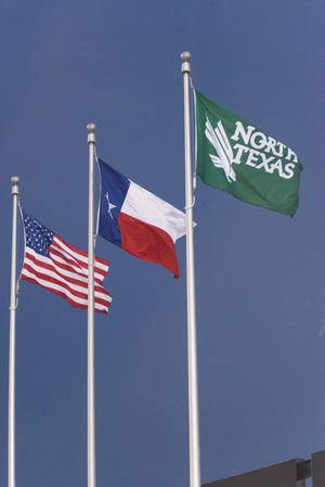 Primary view of object titled '[United States, Texas State and University of North Texas Flags]'.
