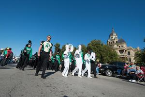 Primary view of object titled '[North Texas marching band in front of the Denton courthouse, 3]'.
