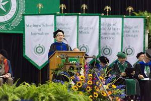 Primary view of object titled '[Speaker During UNT Commencement Ceremony]'.
