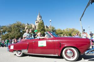 Primary view of object titled '[Lee F. Jackson in the 2014 UNT Homecoming Parade]'.