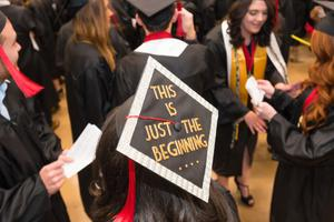 Primary view of object titled '[This Is Just The Beginning Graduation Cap]'.