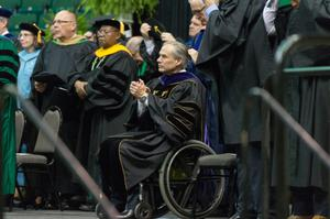 Primary view of object titled '[Texas Governor Greg Abbott at commencement]'.