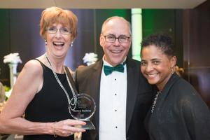 Primary view of object titled '[Samra Bufkins, Neal Smatresk and Dorothy Bland at 2014 Salute to Faculty Excellence event]'.