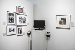 Primary view of object titled '[Photographs and Audio Equipment at Exhibit]'.