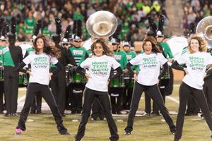 Primary view of object titled '[North Texas Dancers on the Field During 2014 Homecoming]'.