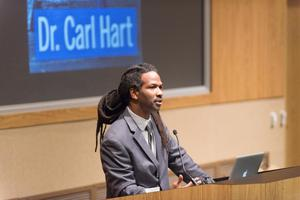 Primary view of object titled '[Dr. Carl Hart Presenting at Conference]'.