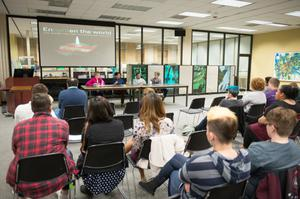 Primary view of object titled '[UNT Transgender Day of Remembrance speaker panel]'.