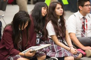 Primary view of object titled '[Uplift Summit International Preparatory students listen to presentation, 2]'.