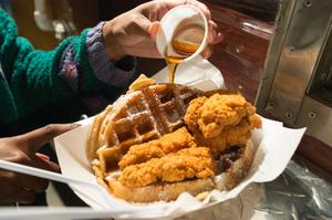Primary view of object titled '[Fried chicken and waffles]'.