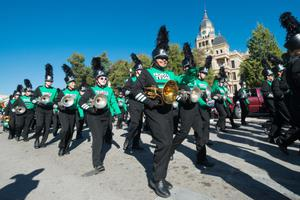Primary view of object titled '[North Texas marching band in front of the Denton courthouse, 2]'.