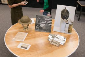 Primary view of object titled '[Special Collections table display at 2014 Day at UNT event]'.