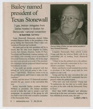 Primary view of object titled '[Newspaper clipping: Bailey named president of Texas Stonewall]'.