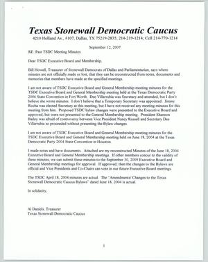Primary view of object titled '[Letter to Texas Stonewall Democratic Caucus Executive Board]'.