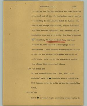 Primary view of object titled '[News Script: Boneheads]'.