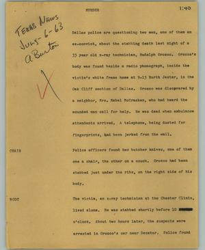 Primary view of object titled '[News Script: Murder]'.