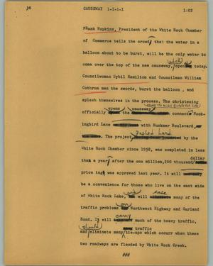 Primary view of object titled '[News Script: Causeway]'.