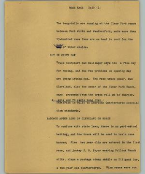 Primary view of object titled '[News Script: Hoss race]'.