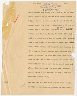 Primary view of object titled '[News Script: Pit death]'.