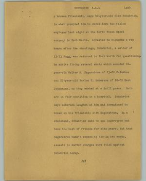 Primary view of object titled '[News Script: Schubrick]'.