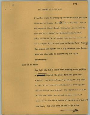 Primary view of object titled '[News Script: LBJ Steers]'.