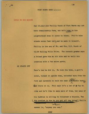 Primary view of object titled '[News Script: Fort Worth bike]'.