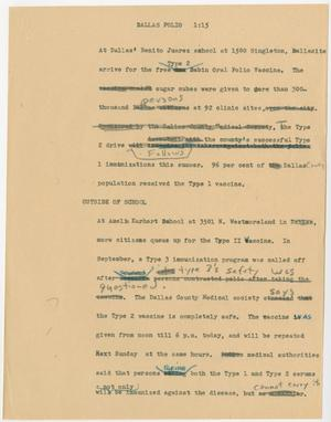 Primary view of object titled '[News Script: Dallas polio]'.