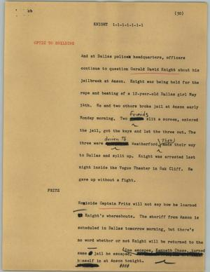 Primary view of object titled '[News Script: Knight]'.