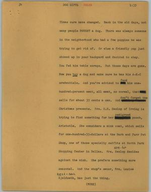 Primary view of object titled '[News Script: Dog gifts]'.