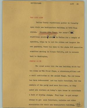 Primary view of object titled '[News Script: Republicans'.