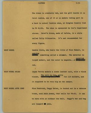 Primary view of object titled '[News Script: Clothes]'.