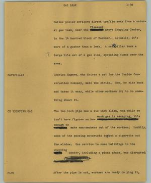 Primary view of object titled '[News Script: Gas leak]'.