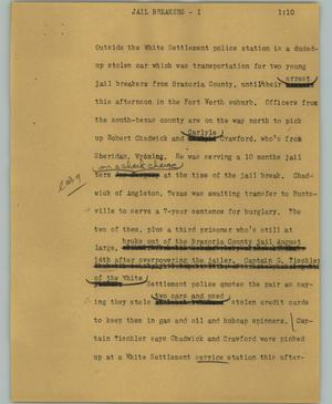 Primary view of object titled '[News Script: Jail breakers]'.
