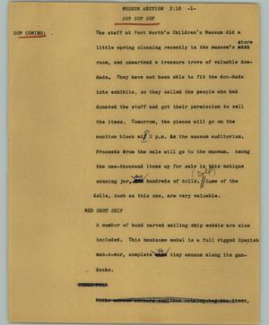 Primary view of object titled '[News Script: Museum auction]'.