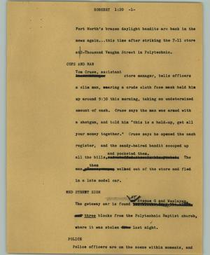 Primary view of object titled '[News Script: Robbery'.