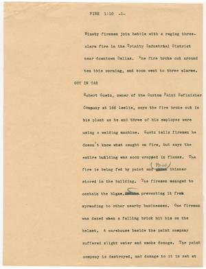 Primary view of object titled '[News Script: Fire]'.