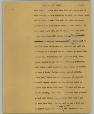Primary view of object titled '[News Script: Port Nellie]'.