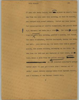 Primary view of object titled '[News Script: Jail escape]'.