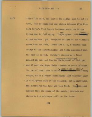 Primary view of object titled '[News Script: Safe burglars]'.