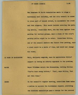 Primary view of object titled '[News Script: Ft. Worth Council]'.