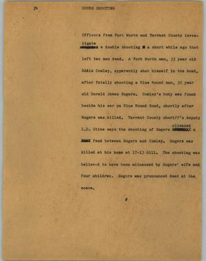 Primary view of object titled '[News Script: Doube shooting]'.