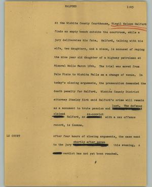 Primary view of object titled '[News Script: Halford]'.