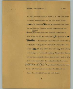 Primary view of object titled '[News Script: Robbery conference]'.