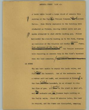 Primary view of object titled '[News Script: Ammonia fumes]'.